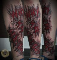 bloody scratchy sliced lettering tattoo in prog. by 2Face-Tattoo
