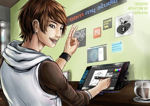 Elan was drawing on pen tablet by Sefina-NZ