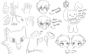 Ouran sketches by Caramelcat123
