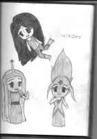 Chibi Marceline flame princess and bp sketch by JaysonWalls