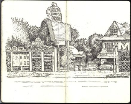 Sketchbook - Wonderful and creepy motel on Sunset by keiross