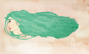 Long Chestnut Eyes and Shiny Emerald Hair - wait.. by alieangeles