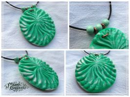 GREEN AND PEARL PENDANT by MassoGeppetto