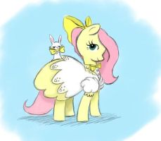 Fluttershy and angel by JBRID