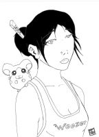 Suzana and her hamster BW by beto