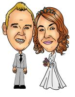 Married couple caricature 062412 by raccoon-eyes
