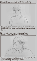 Draw yourself- no looking and looking by rainbowPudding18