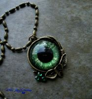 Autumn Harvest - Green Dragon Eye Pendant by LadyPirotessa