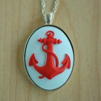 Red Anchor Necklace by MonsterBrandCrafts