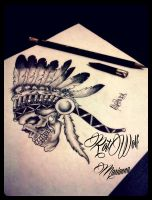 indian skull by rotwolf93