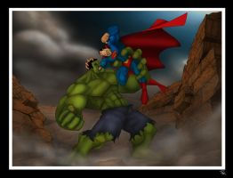 Superman VS the Hulk by Helmsberg