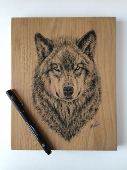 Wolf Art on wood 2 by EivydasART