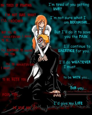 Orihime and Ichigo by crimsonbro