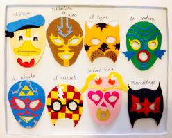 Pop culture luchadore masks by liverspoon