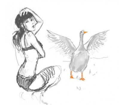 Girl and her Goose by LARK42