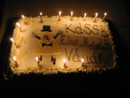 Bill cipher birthday cake by Sarah-Herron