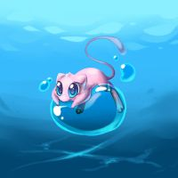Mew on a bubble by homa-Nix