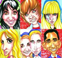 Celebrity Caricatures 080311 by raccoon-eyes