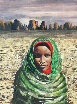 Tubu Woman in Front of Desert Mountains by heiste