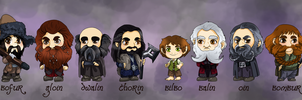 Bilbo and 13 dwarves by momofukuu