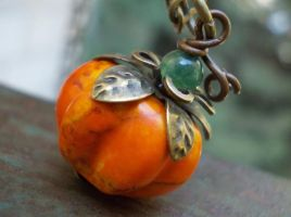 Organic Pumpkin necklace, Karmelidesigns.Etsy.com by Wildstonart