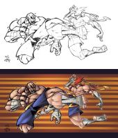 Sagat vs Adon COLOUR by DawidFrederik
