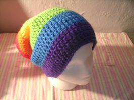 Extra Slouchy Rainbow Hat by ambiguousginger