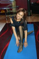 Nylon Practices Yoga by PantyhoseClass
