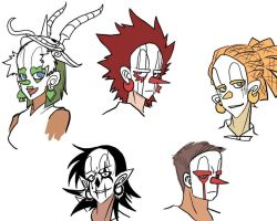 Wakfu - random masks doodles by YonYonYon