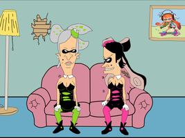 Beavis And Butthead as  the Squid Sisters by garageman45