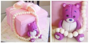 Pink gift box cake by Cakerific