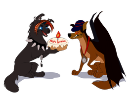 A cake for the Demon! (B-day gift from Tuwka) by Charbunstar