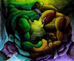 Hulk vs Juggernaught by artfreakguy