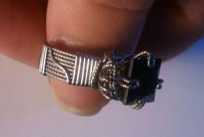 Stainless Steel Black Spinel Princess cut Ring by BESTGEM4U