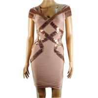 SHORT SLEEVE NOVELTY BANDAGE DRESS by Kangxiao