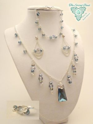 Blue Smokey Chandelier Set by TheSortedBead