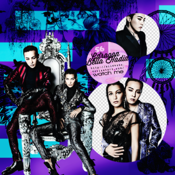 GDragon and Bella Hadid PNG by MilenaHo
