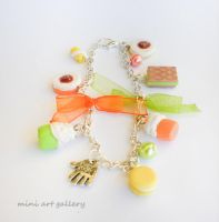 Mini food charm bracelet miniature polymer clay by artSistaFotini