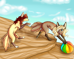 Playing with ball by Satuka