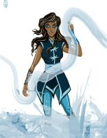 older Korra waterbending by grueneyes