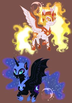 Nightmare Moon and Daybreaker by DJspark3