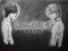 Death Note: L and Light by paranoiaPRODIGY