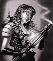 girl with plasma cannon gun by dielectric-m