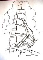 Sailor Jerry style ship by onfire4Him