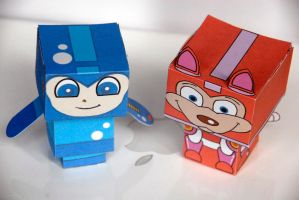 Mega Man and Rush cubeecrafts by scarykurt