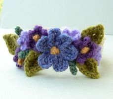 Crochet Purple Flower Bracelet by meekssandygirl