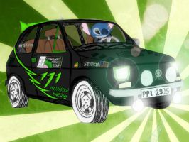 Stitch in Fiat 126p Monster Energy Edition colored by Wilku333