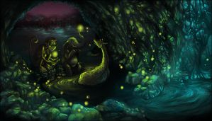 firefly cave by StefTastan
