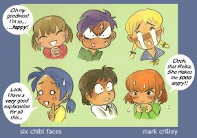 Six Chibi Faces by markcrilley