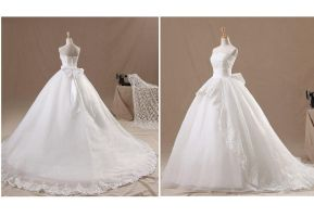 Sweet Organza Wedding Dress with Sweep Train by lindayang1122